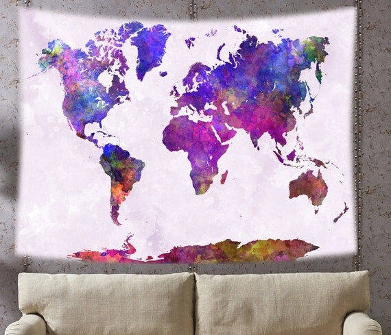 tapisserie de carte monde carte du monde tenture murale. Black Bedroom Furniture Sets. Home Design Ideas
