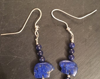 Lapis Lazuli and Sterling Silver Bear  Earrings