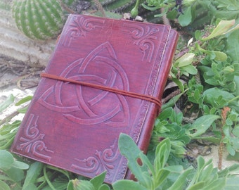 Leather Bound Journal - Leather Diary Celtic Symbol - Triquetra Leather Notebook -  Celtic Leather Journal