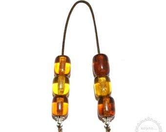 Amber Resin handmade Begleri – mini worry beads created with 6 pressed Amber Resin beads in barrel shape of 14x17mm
