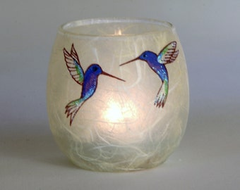 Humming Bird candle holder votive - cute hand painted glittery birds on warm natural cream strawsilk