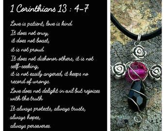 1 Corinthians 13 'Love is patient, love is kind' cross crucifix beaded pendant