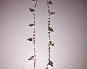 Handmade sterling silver anklet with genuine amethyst beads