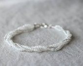 Minimalist Twisted Seed Bead Bracelet in Pearl White and Silver | Seed Bead Jewelry | Bridal Jewelry
