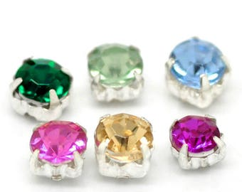 "500PCs Acrylic Rhinestone Beads, with Metal Findings 5x5mm(2/8""x2/8"")"