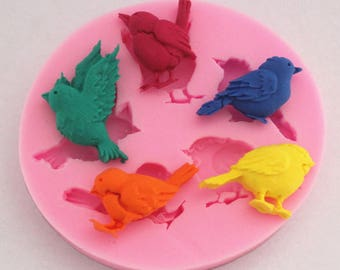 Birds silicone fondant cake molds soap chocolate mould for the kitchen baking