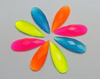 100  PC LOT Mixed Neon Color Flatback Acrylic Long Teardrop Rhinestone Gems 8X22mm No Hole