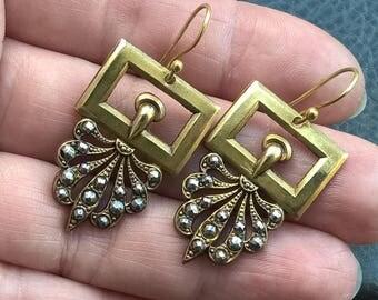 Antique 1910's  Edwardian Cut Steel Brass Buckle Fancy Design Dangle Earrings