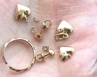 Set: 6 USSR Soviet Gold 585 Broken 4.74 grams Components For Re-Purpose