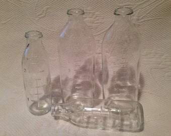 Bottles vintage graduated glass - milk in glass bottles - original vase for flowers