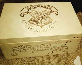 Large wood memor/keepsake box Hogwarts/ Harry potter, unique, personalised wishes and dreams