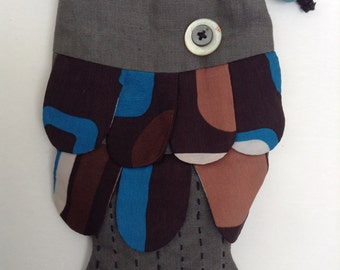 Linen purse from the shape of fish PM