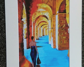 "Colosseum in Blue - El Djem, Tunisia - A4 or 7"" x 5""  Print of an Original Painting by Bryan John"