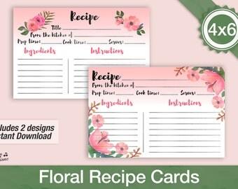 Recipe cards 4x6, Bridal Shower Recipe cards, Printable Recipe Cards, Boho Floral Recipe Cards, Recipe Card Template, DIY Recipe Card