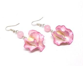 Sweet pea earrings, pink flower jewelry, gemstone earrings, polymer clay jewelry, rose quartz earrings