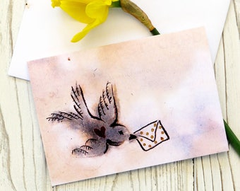 Illustrated Hand Painted Watercolour Ink Vintage Style Valentine Love Letter Bird Wedding Greeting Card Watercolor.