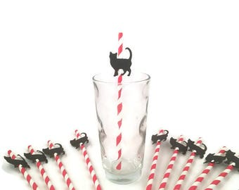 Black cat party straws-cat themed party,cat birthday party,cat straws,cat theme