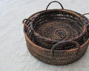 Vintage Bohemian Home Decor Wall Hanging Baskets Set / Dark Rustic Woven Wicker Handled Baskets / Storage Basket / Scandi Shop Display