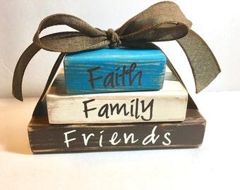 Faith Family & Friends block, family, friends, faith, christian, home, Christian art, family values, faith based art, gift, Mother's day