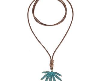 Bronze leaf necklace - string leaf necklace -leaves left necklace
