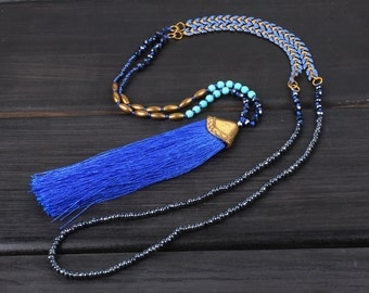 4mm crystgal beads New stylish design  Blue tassel metal sweater beaded necklace