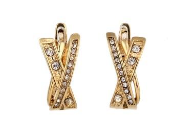 Gold and Sapphire Earrings, Gold Diamond Earrings, Sapphire Birthstone,  Crystal Earrings, September Gift, Prom