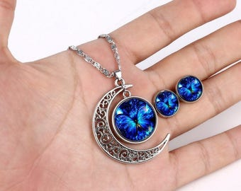 Blue butterfly moon glass cabochon jewelry set, 925 Sterling silver plated womens pendant necklace, Small cute cheap stud cabochon earrings