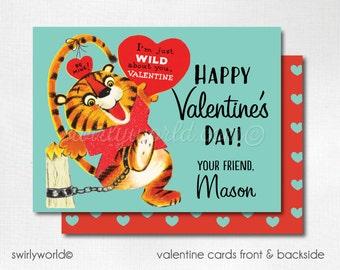 Vintage Tiger Circus Valentine Cards, Digital Printable 1950s Circus Tiger Valentine Card, Digital Valentine Cards, Boys Valentine DIVAL59