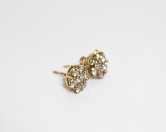 10k Yellow Gold 1.00ctw Champagne Diamond Cluster Earrings