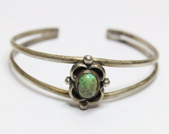 Vintage 1940's Turquoise Cuff Bracelet Sterling Silver