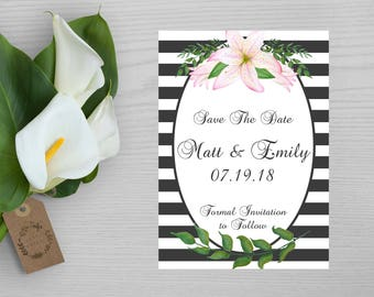 Flower Save The Date Card-Announcement of Marriage-Announcement of Engagement-Formal Save The Date Card-Black and White Save the Date