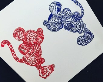 Mickey and Minnie - Red/Royal Blue