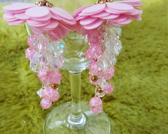 earings, handmade, pink beads, fabric flower