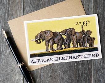 elephant birthday cards, african elephant herd cards, elephant herd art prints, elephant kids room decor, elephant birthday theme, art cards