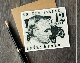 Henry Ford, Model T, vintage cars, vintage car gifts, Ford auto, US postage stamp art, stamp art cards, car gift cards, car birthday cards