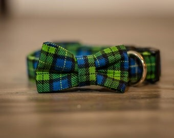 Doggie bow tie, fabric dog collar, collar with bow, dog bow tie collar, blue plaid dog collar, custom dog collar, designer dog collar, bows