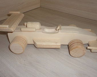 Racing car wooden Wood race car Eco-friendly Reclaimed Wood Wooden Toy Car for Children Natural Wooden Toy Montessori Toy Sports Car Unpaint