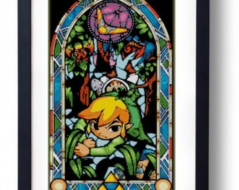 The Legend of Zelda - Link Stained Glass Boomerang The Wind Waker (Cross stitch embroidery pattern pdf)
