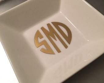 Monogram Trinket Dish, Personalized Ring Dish, Small Porceline Vanity Tray