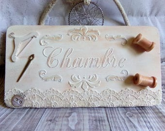 "Plate of door ""Room"" shabby chic couture theme"