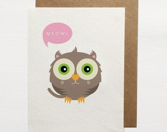 Meowl Greetings Card