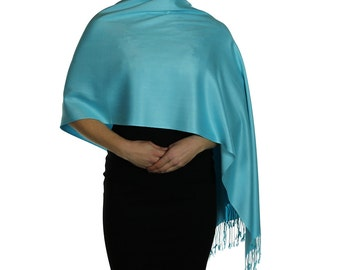 Turquoise  Ladies Pashmina Scarf Wrap Shawl Stole - Tassel Finishing - Handmade