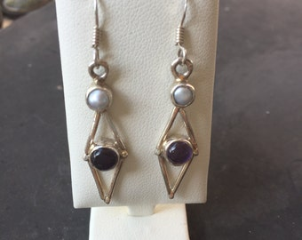 Silver, amethyst and pearl earrings