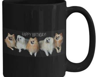 HAPPY BIRTHDAY!! Coffee Mug! Maltese! Five Fluffy Dogs In Cute Photo Wishing A Happy Birthday on 15 oz Black Ceramic Coffee Cup / Tea Cup!