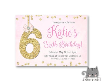 Pink Glitter Birthday Invitations - 1st 2nd 3rd 4th 5th 6th 7th Birthday Invitation - Pink and Gold  Confetti - Girls Birthday Invites -78a