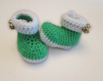Green Jingle Bell Baby Booties