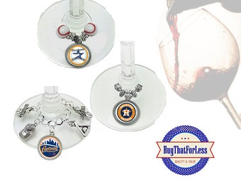 HOUSTON Wine or Bottle Charms, Napkin Rings, Set of 6, U Choose Style +FREE SHIPPING & Discounts*