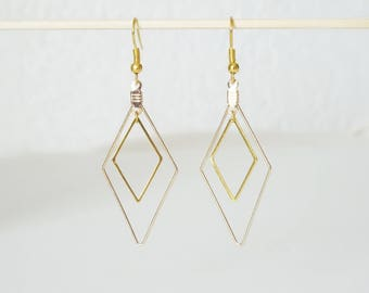 Earrings double large and small diamonds MINIMALISTS