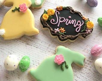 1 Dozen Spring Bunnies Decorated Cookies