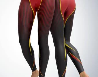 Leggings / Yoga Pants / Yoga Capri - Athletic Lines Red black and Yellow Leggings